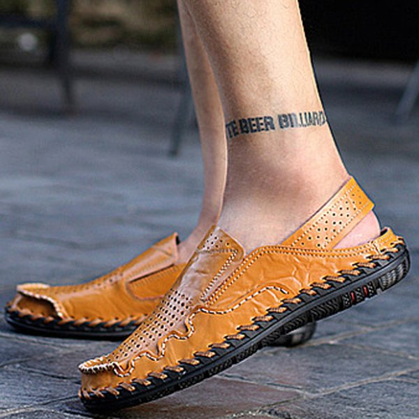 mens gladiator sandals summer 2019 new men's thick leather leather sandals non-slip beach slippers