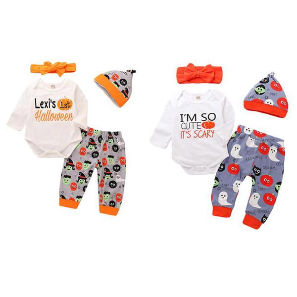Bebek Cadılar Bayramı Giyim Setleri Karikatür Kabak Mektup Baskılı Tek Göğüslü Tulum Baskılı Pantolon Yay Bandı Şapka 4 Adet Tulum 0-3 T