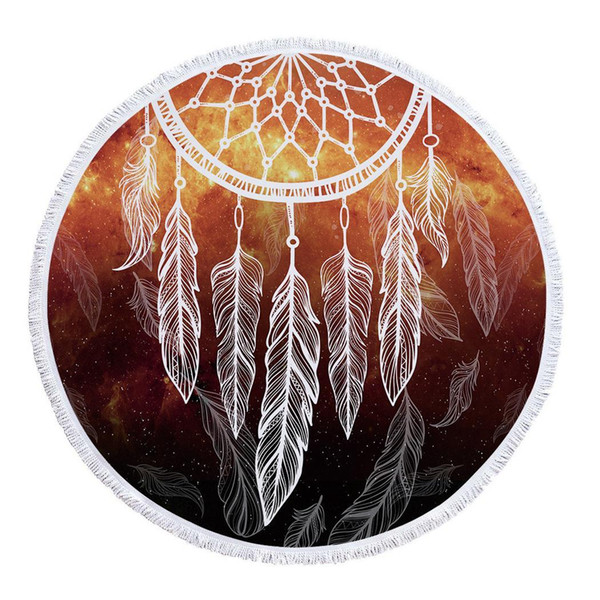 Dreamcatcher Round With Tassel Microfiber Polyester 150cm/59.1inch Beach Print As Picture Towel