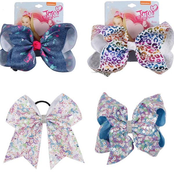 "JOJO bows hairbands 7"" girl Paillette Bow Hair Accessories girl Hairbands Teenager exquisite hair bows"
