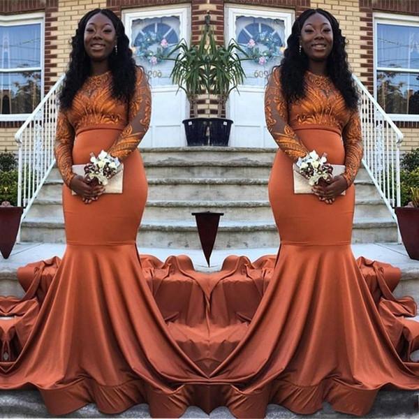 2019 сексуальные оранжевые платья русалка выпускного вечера атласные кружева аппликации иллюзия с длинными рукавами черная девушка плюс размер театрализованное платье вечерние платья носить