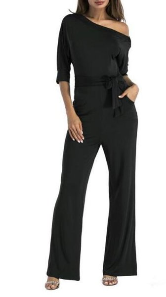 Loose jumpsuit European and American fashionable dress lashes up waist to show thin short sleeve wide Skinny Pencil Jeans Leggings For Women