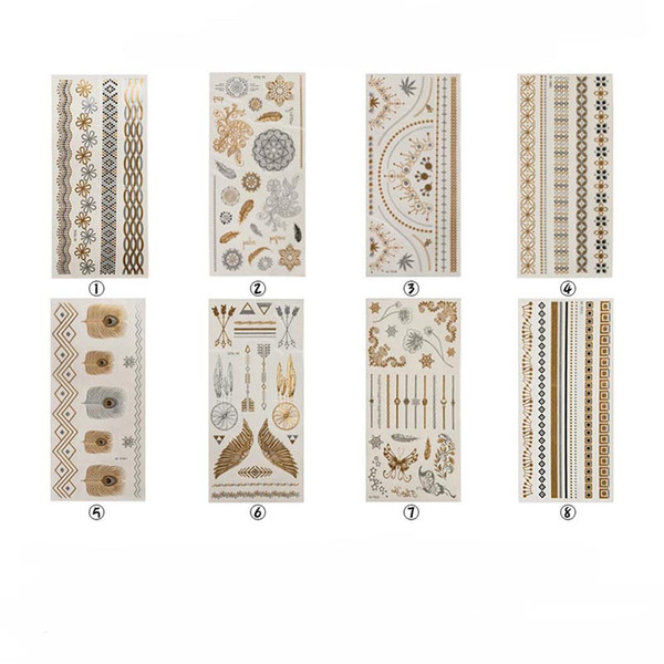Gold Silber Prägung Vintage Tattoo Aufkleber Shiny Fashion Body Jewellery 8 Designs Mobile Poster Armband Aufkleber Fashion 08