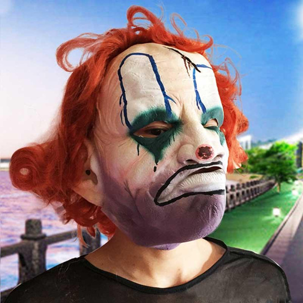 Funny Latex Clown Mask with Curly Hair Wig Christmas Halloween Costume Party Props Adult Cosplay Joker Masquerade Carnival Masks