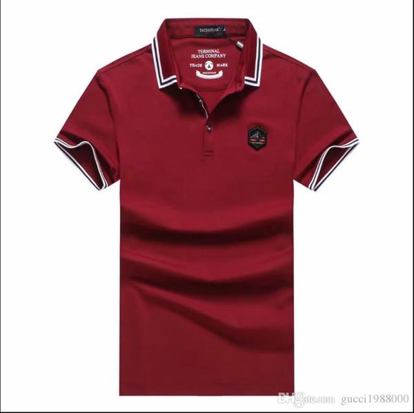 Мужская мода мужской дизайнер простой личности сплошной цвет букв с короткими рукавами лацкане футболки высокого качества вскользь SWE мужские
