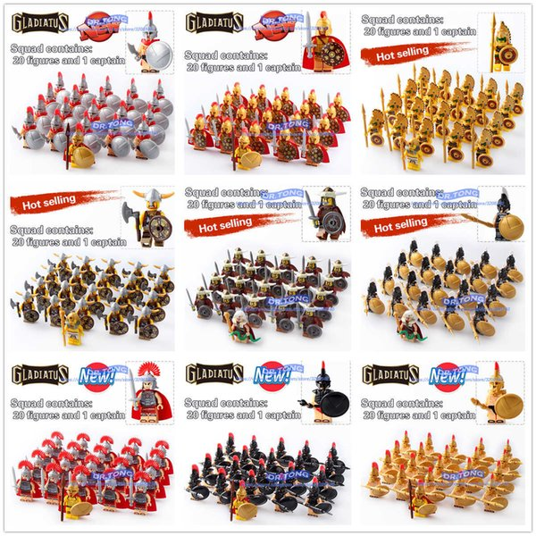 Dr.tong 21pcs/lot Gladiatus Warriors Rome Fighters Medieval Castle Knights Building Blocks Brick Toys Y190606