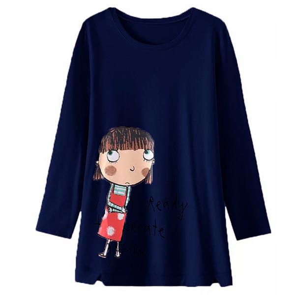 Plus Size 2019 Women Spring Cartoon Print Blusas Sweatshirts Female Casaul Loose Pullovers Jumpers Shirt Femme Traksuits Tops