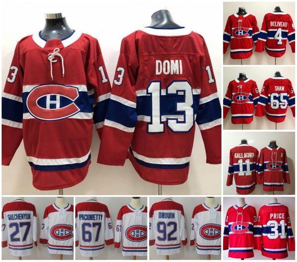 Montreal Canadiens 13 Max Domi Hockeytrikots 31 Carey Price 6 Shea Weber 92 Jonathan Drouin 11 Brendan Gallagher Genähtes rotes und weißes Eis