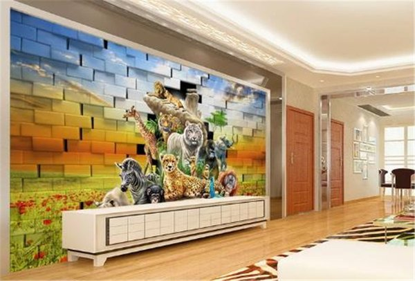 Custom Digital Print Wallpaper 3D Stereo African Animal World Living Room  Bedroom Background Wall Decoration Mural Wallpaper Wallpapers For Pc ...