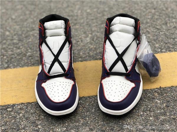 2019 Release Authentic Air High 1 OG Defiant SB Lakers Light Bone Court Purple Black GOLD Basketball Shoes Retro Men Sneakers CD6578-507