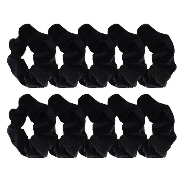 Women 10Pcs Black Velvet Scrunchie Hair Elastics Hair Bobbles Hair Bands Clips Tool For Free Shipping