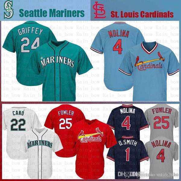 top popular New Yadier 4 Molina Dexter 25 Fowler St. Louis Jersey 1 Ozzie Smith 24 Ken Griffey Jr. 22 Robinson Cano Baseball Jerseys 33 ol 2020