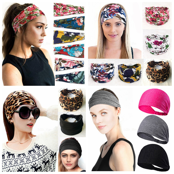best selling 99styles Women Knotted Wide Headband Floral stripes Yoga Headwrap Cross Stretch Sports Hairband Turban Head Band Hair Accessories AAA2088