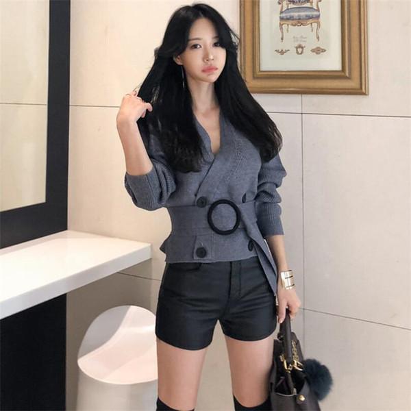 2019 Bahar Hırka Örme Kazak Kadın Moda Seksi V Yaka Kruvaze Bel Kore Kazak Kadın Coat Gri Tops Toplamak