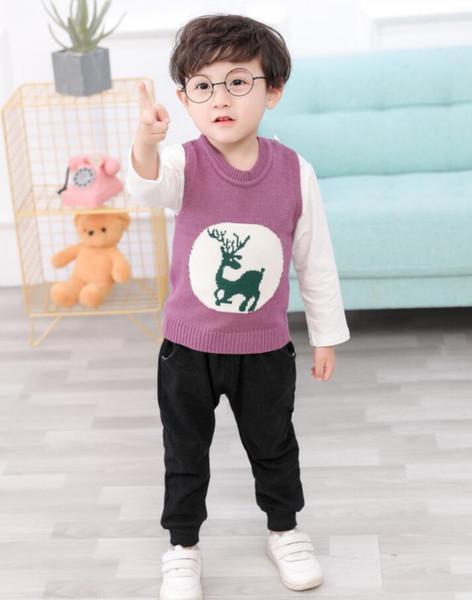 Yeni Çocuklar ve Bebekler Elbise Takım Elbise Tüm-pamuk Geyik Kazak Üç parçalı Çocuklar Takım doğrudan anlaşma 1-4 Yaşında