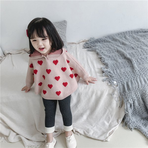 Red shawl winter Kids Heart cloaks girls fleece warm princess cape winter baby girls outwear