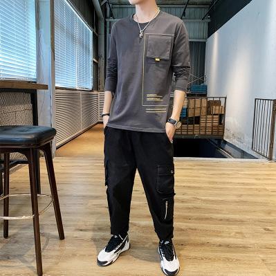 Mens конструктора с длинным рукавом рубашки основывая молодежи Письмо печати Tops Сплошной цвет одежды для мальчиков New Fashion Style