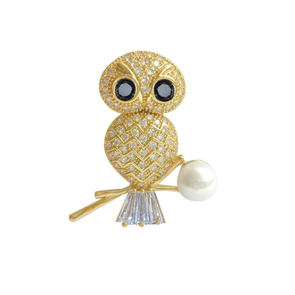Neue Modeschmuck Gold Farbe Tier Eule Broschen Für Frauen Hochzeit Brautkleid Zubehör Weihnachtsgeschenke Brosches