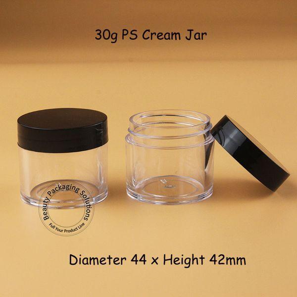 100pcs / Lote Atacado 30g de plástico creme Frasco vazio recipiente cosmético pequeno Eyeshadow 1 onça garrafa recarregáveis Preto Lid Packaging