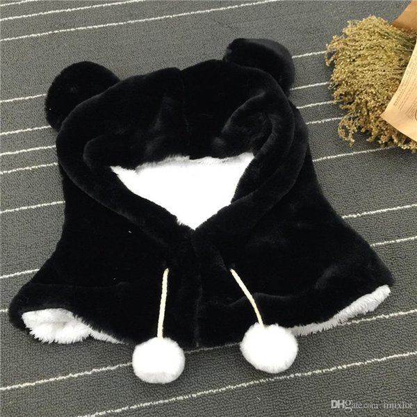 2018 New Fashion Adorable Plush Bear Children Lovely Gift Winter Scarf Hat Caps For Girls And Boys One Pair Ears Warm Wind 35*35CM