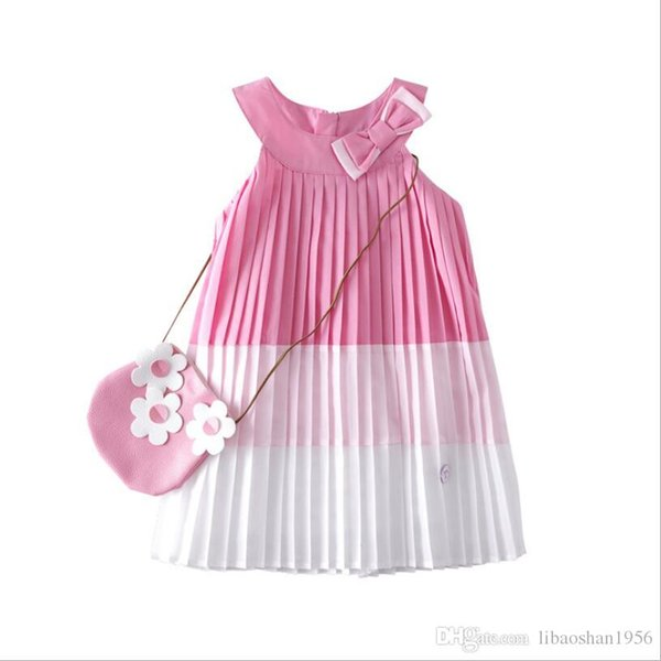 High-end children's clothing 2019 summer new girls cotton strap skirt / bow vest skirt / color matching pleated skirt
