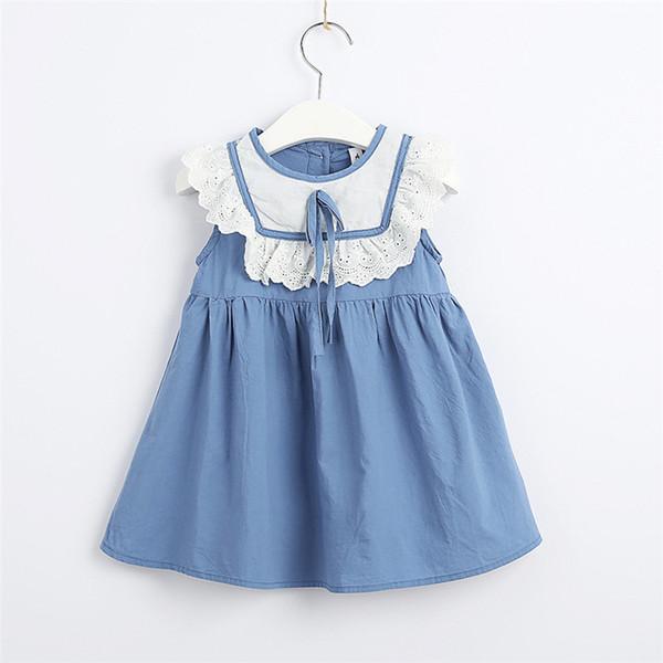 Meninas vestido de verão 2019 novo algodão hit cor saia infantil bebê bonito arco saia de renda