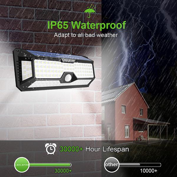 136 Led Solar-Straßenleuchte für Haus Garage Garten Licht Solar Powered Wall Street-Lampe mit Bewegungsmelder Solar Light Wasserdicht