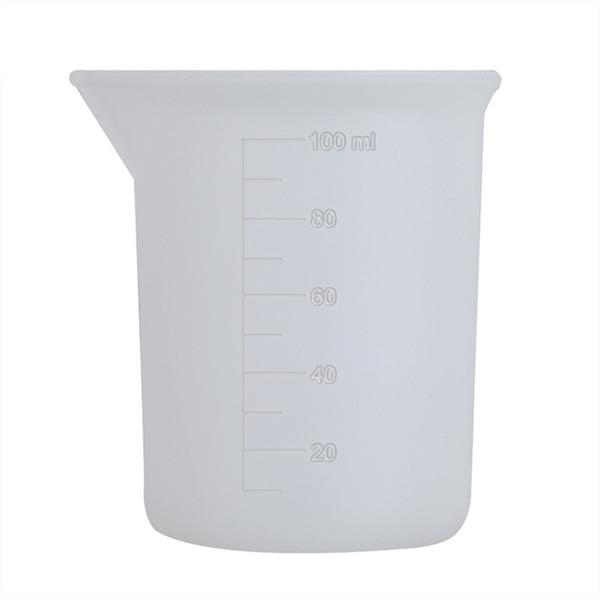 100 ml Taza de medición transparente con pegamento de escala Herramientas de medición de silicona para bricolaje Hornear Cocina Bar Comedor accesorios al por mayor