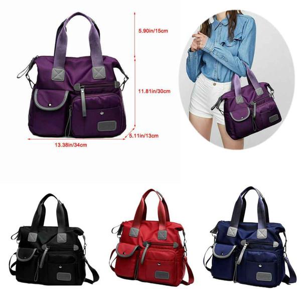 Womens Travel Multi Pocket Tote Large Capacity Nylon Crossbody Shoulder Bag Ladies Handbag Mummy Bags Satchel Backpack Phone Pocket Purse