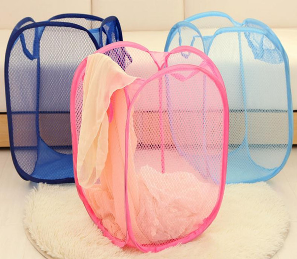 wholesale 100pcs Mesh Fabric Foldable Pop Up Dirty Clothes Washing Laundry Basket Bag Bin Hamper Storage for Home Housekeeping