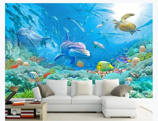 Papiers peints 3D personnalisés décor à la maison photo papier peint HD Dolphin Coral Turtle Groupe de poissons Monde sous-marin TV Fond Mural papier peint pour les murs