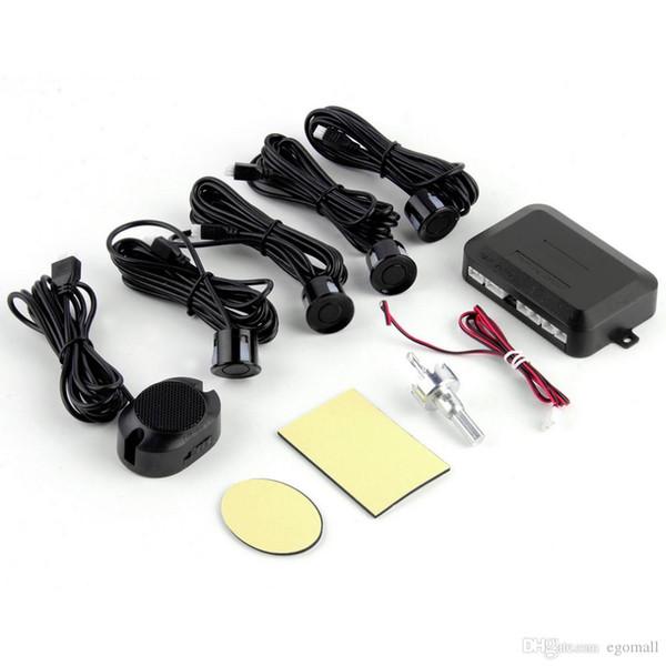 DC12V LED BIBIBI Car Parking Sensor 4 Sensors Monitor Auto Reverse Backup Radar Detector System Kit Sound Alert Alarm Indicator Free DHL