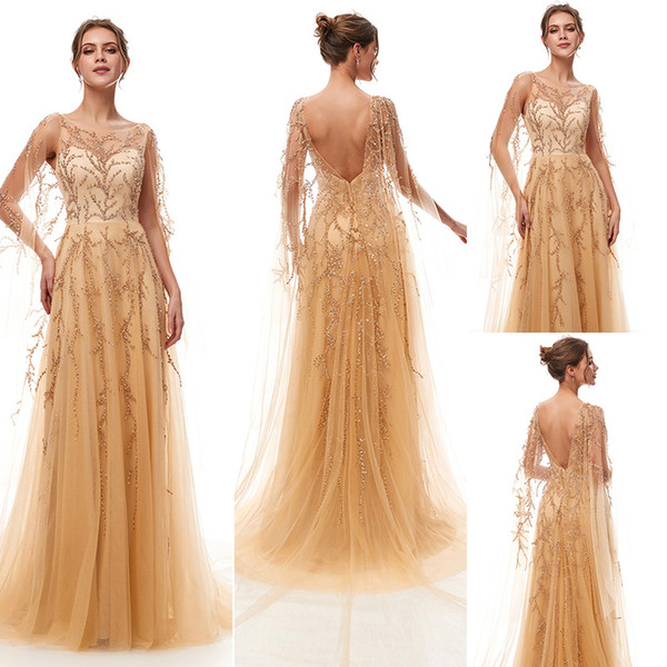 2019 Robe De Soiree Gatsby Vintage Luxury crystal Champagne A-Line Evening Dresses yousef aljasmi sheer Neck with cape arabic Prom Gowns