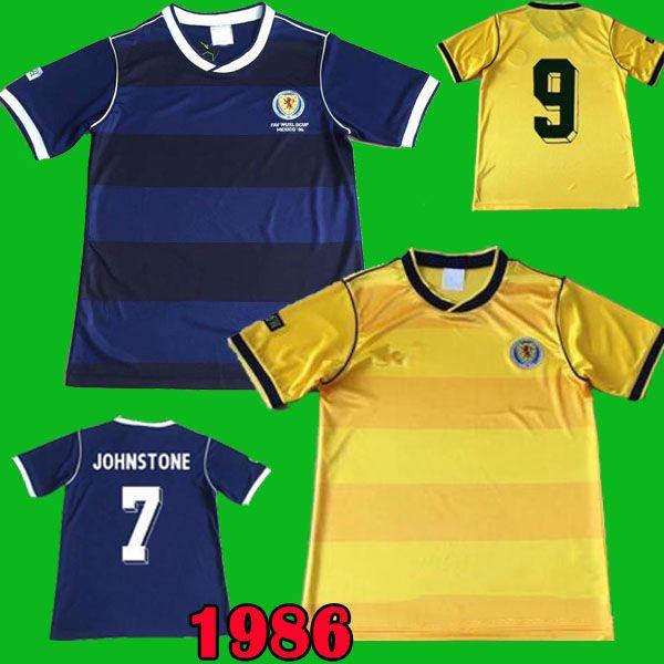 Camisetas de fútbol de Escocia de la copa del mundo de 1986 86 STACHAN SOUNESS McSTAY camiseta de fútbol retro azul amarilla Camisetas clásicas de colección de antigüedades vintage