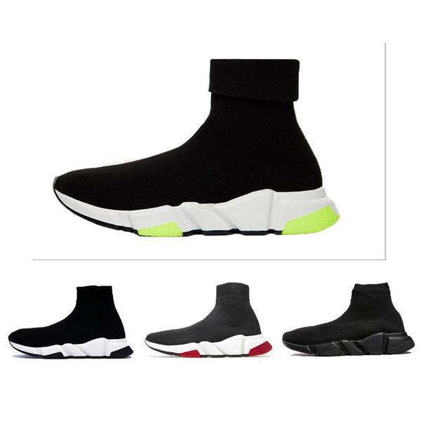 2019 Zapatos de diseñador Entrenador de velocidad Oreo Triple Negro Verde Plano Calcetines de moda de lujo Bota de diseñador Hombres Mujeres Zapatillas con caja Bolsa para el polvo
