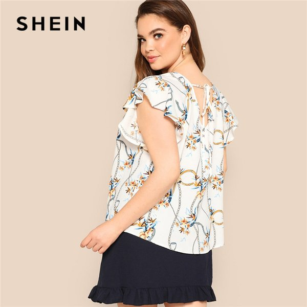 Plus Size Women Lace Up Back Ruffles Butterfly Sleeve Chain Print White Blouse Office Lady 2019 Summer Tops Blouses C19041001