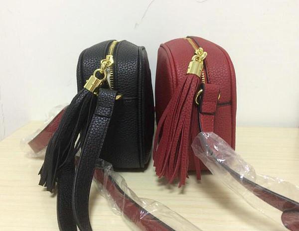 Nuevo estilo de alta calidad para mujer Moda mujer diseñador de cuero de la borla Soho bolso Disco hombro bolso monedero bolsos con bolsa de polvo