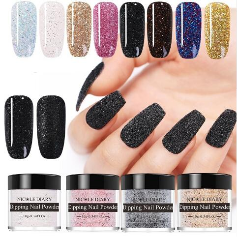 best selling 7 piece lot 10g Dipping Nail System Natural Dry Purple Pink Colorful Shimmer Nail Art Glitter Manicure Design