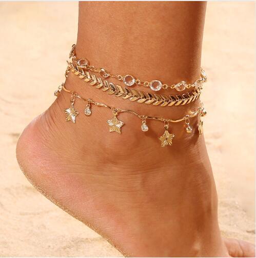 3 ADET / TAKıM Kristal Yıldız Kadın Halhal Yalınayak Tığ Sandalet Ayak Takı Yeni Halhal Kadınlar Için Ayak Bileği Bilezikler Bacak Zinciri