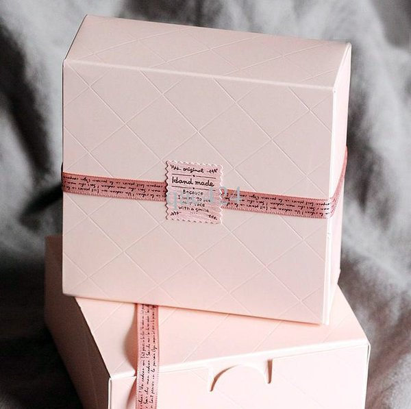 Pink Square Cake Box Wedding Party Cupcake Bakery Macaron Pastry Cookies Biscuits Packaging Paper Boxes WB284