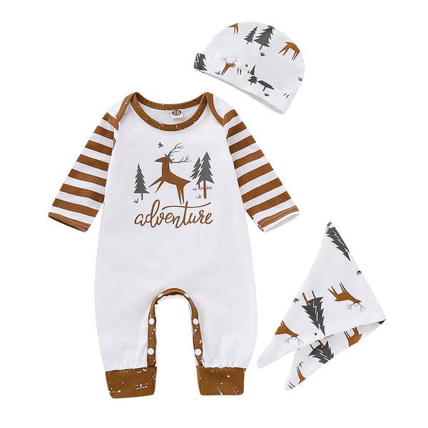 Christma Girl Boy набор Baby Girl Одежда Детский Набор с длинным рукавом О-Образным Вырезом Младенческой Малыша Детские Олень Комбинезон Шляпа Водонепроницаемая Одежда