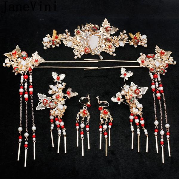 JaneVini Ancient China Gioielli per capelli da sposa Oro Rosso Perle di cristallo Fascia da sposa Sposa Spille per capelli Accessori per pettini 2019