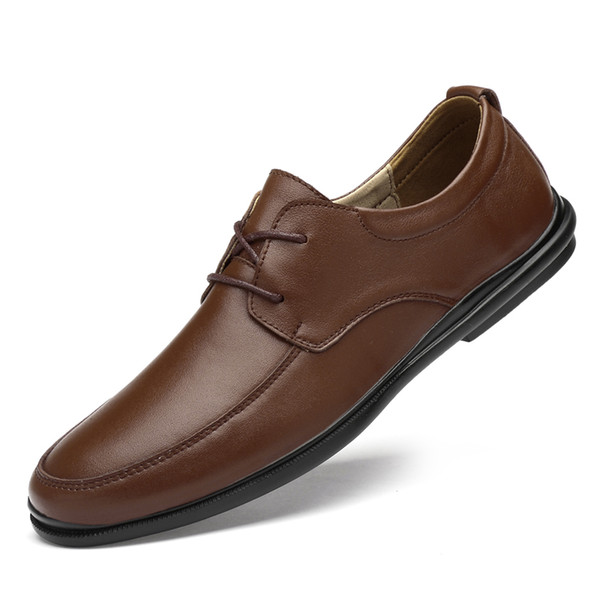 New style men's suit lace shoes, low upper shoes, casual men's shoes, soft cowhide rubber soles, men's breathable moistur