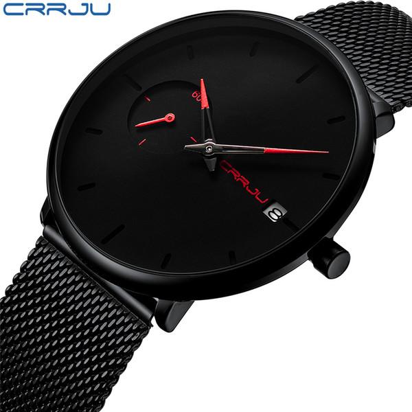 Crrju Sports Date Mens Watches Top Brand Luxury Waterproof Sport Watch Men Ultra Thin Dial Quartz Watch Casual Relogio Masculino Y19051302