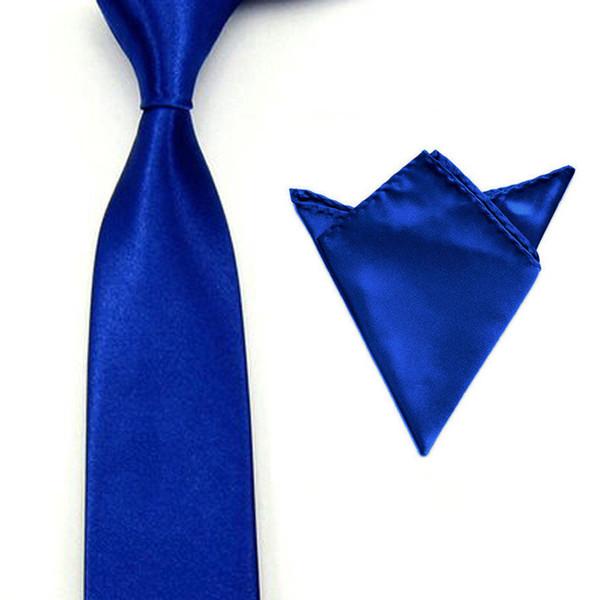 Men Satin Solid Color Necktie Tie Hanky Handkerchief Pocket Square Set BWSET0003