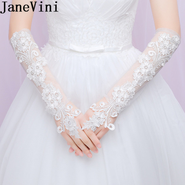 JaneVini Ivory Lace Wedding Gloves for Brides Fingerless Long Elegant Elbow Wedding Accessories Dance Party Bridal Gloves High Quality