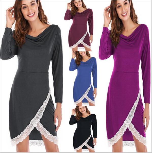 Vestiti delle donne Abiti Pizzo Abito camicia Lady manica lunga Abito casual Moda Abiti larghi Sexy Tunica Top Abbigliamento donna Abiti B4464