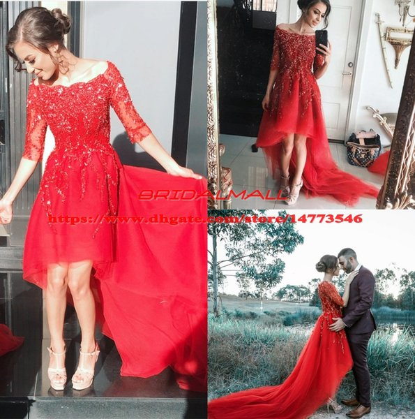 Beaded Applique Red Tulle High Low Prom Dresses 2019 Sheer Half Sleeve Formal Party Gowns Custom Cocktail Homecoming Dress vestido de fiesta