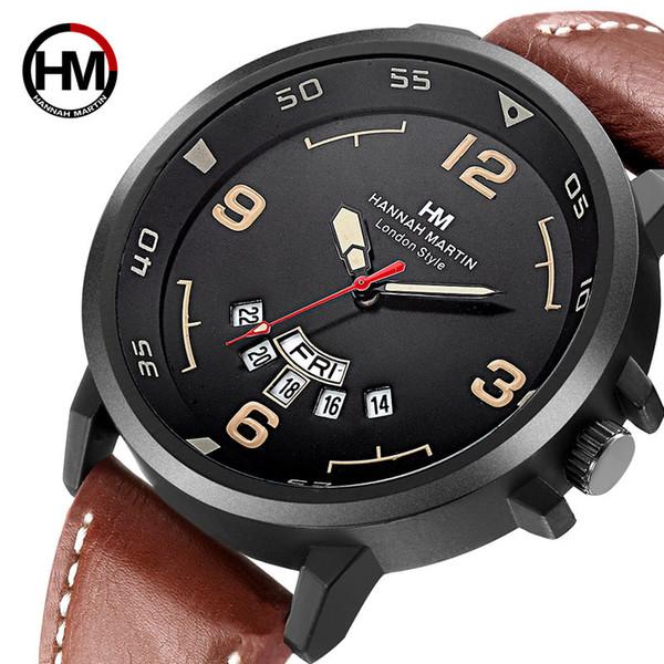 Nueva correa de cuero para hombre de los relojes de manera cuarzo doble impermeable del calendario Reloj de dial Sport Business reloj de los hombres