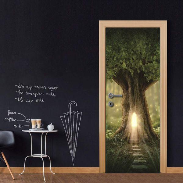 Wholesales DIY Door Sticker Cartoon Tree House Wateproof Door Decal for Kid's Bedroom Living Room wallpapers Decal home